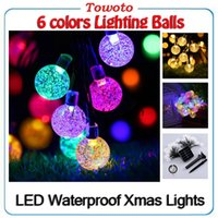 Outdoor imperméable à l'eau 30 LED de cristal Boule solaire Powered Fairy String lumières Xmas Garden Fence décoration de Noël 30 bulbes vs goutte d'eau