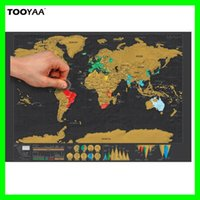 82.5 x 59.5CM World Scratch Map Deluxe Traveling Scratch Off Black Maps Home Wall Sticker Decoração para casa