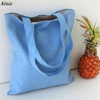 Wholesale Handbag Summer Folding - Wholesale- 2017 Women Candy Colors Canvas Shopping Bags Shopper Tote Holiday Beach Bag Zipper Shoulder Versatile Sack Summer Handbag