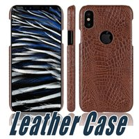 Wholesale Iphone Crocodile Leather - For iPhone X 8 Ultra thin Slim Crocodile Skin Grain PU Leather Hard Full Back Protective Case For iPhone 6 7 Plus Samsung S7 Edge S8 Plus