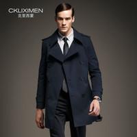 новые длинные стили для мужчин оптовых-Wholesale- New arrive British Style double breasted mens long trench coat  business casual windbreaker jacket overcoat men