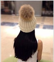 Wholesale Raccoon Hair - Hot selling large ball wool hat European raccoon hair hair ball really removable thick warm hat knitted hat 19 colors optional