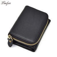 Wholesale snap purses - Wholesale- Unisex genuine leather pocket wallet Thrifold zip around pocket short wallet zipper coin case Snap real leather short purse