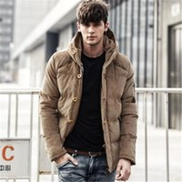 Wholesale Corduroy Jacket British - Wholesale- 2015 Men's Solid Thick Hooded Winter Coat Slim British Tide Thick Winter Hooded Down Jacket Coat Tide Male British Solid M-3XL