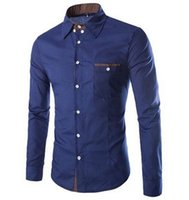 Wholesale Urban Design - Wholesale- camisa masculina fashion urban single men shirt pocket design simple long-sleeved shirt Slim stitching quality free shipping