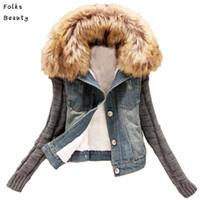 novas mulheres jeans venda por atacado-Atacado- 2017 das mulheres novas outono jaqueta jeans mulheres casaco de inverno fino fio grande gola de pele de cordeiro de algodão denim outerwear jeans 4XL