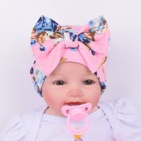 Wholesale beanie girl flower hats resale online - Knit Baby hat Newborn Beanie Big bow months flowers print hat Maternity Boutique Accessories European Spring Autumn