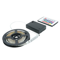 Wholesale Flexible Light Box - Waterproof IP65 Led Strip Light RGB 2m 1m 0.5m 3528 SMD LED Flexible Strip Tape String With Battery Box Mini Remote
