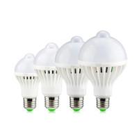 Wholesale 5w Infrared - Wholesale- E27 220V 5w 7w 9w 12w Sensor LED Bulb Lamp PIR Infrared Motion + Light Sensor Control auto Body Detection SMD 5730 Night light
