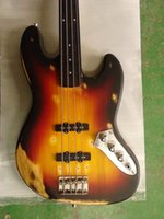 Wholesale fretless guitars resale online - Custom Strings Sunburst Black Red Yellow Electric Bass Guitar Satin Finish Basswood Body Fretless Rosewood Fingerboard Dot Inlay