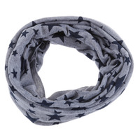 Wholesale red loop scarf - Wholesale- SAF-Unisex Babies Loop Wraps Five-pointed Star Knitted Wraps Winter Shawl Snood Neck Warmer Gray