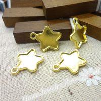 Wholesale Vintage Metal Necklace Frames - Wholesale- Wholesale 65 PCS Vintage Charms Star Frame Pendant gold plated Fit Bracelets Necklace DIY Metal Jewelry Making