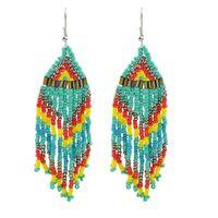 Wholesale China Boho - Boho Colorful Beads Chain Tassel Chandelier Earrings