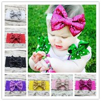 Wholesale Big Glitter Bows - DHL 200pcs lot Solid Lace Elastic Hair Bands For Girls Big Sequin Bow Lace Headband Hair Bows Glitter Headbands Hairband Hair Accessories