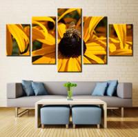 ingrosso pannelli dei paesaggi petroliferi-5 pannelli bella ape sul fiore pittura a olio di paesaggio pittura per soggiorno immagine di arte della parete decorazione della casa pittura a olio di paesaggio