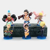Wholesale one piece anime set - Anime One Piece 6pcs set Luffy Zoro Sanji Doflamingo Franky Senor Pink PVC Figures Brinquedos Collection Toys Model