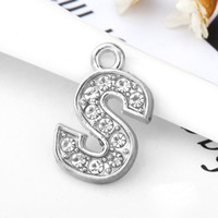 Wholesale Rhinestone Letter S Charm - DIY Charm Letter S Full Rhinestones Bling Slide Letter DIY Alphabet Charms Fit For Wristband Bracelet&Necklace Findings Jewelry