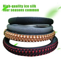 Wholesale Steering Wheel Cover Soft Leather - Comfortable car steering wheel cover Non-slip Design knitting embroidered leather Four optional super soft sports steering
