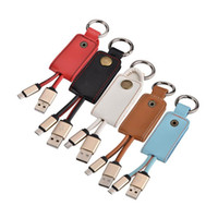 Wholesale Iphone Key Charger - Key Chain Micro V8 5pin Aluminum alloy Leather usb data charger cable for samsung htc blackberry sony lg smart phone