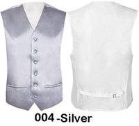 "Wholesale Waistcoats Mens Wedding - Wholesale- New Mens Slim Fit Vest Wedding Groomsmen Silver Formal Waistcoat Groom Size 36""-48"" Chest Available S M L XL XXL 3XL 4XL"