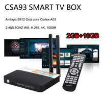 Wholesale core arms - CSA93 Amlogic S912 Octa core Android 7.1 TV Box ARM Cortex-A53 2G 16G BT4.0 2.4 5.8GHZ Dual WiFi 1000M LAN H.265 4K Smart Media Player S905X