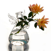 Wholesale hydroponic glass vases - Hot Cute Glass Angel Shape Flower Plant Stand Hanging Vase Hydroponic Container Office Wedding Decor 6PCS
