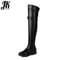 JK Cool Ladies Over the Knee Boots Altura creciente Short Plush Winter Boots Hebilla Correa Zipper Muslo High Shoes Mujer