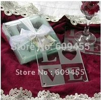 Wholesale Personalized Wedding Coasters - Wholesale-LOVE Glass Coaster Gift Wedding Favor Set with FREE Personalized Tag - (2pcs set)+100sets lot +FREE SHIPPING(RWF-0025C)