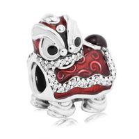 diy pulsera china encantos al por mayor-Pandulaso Chinese Lion Dance Silver Charm Lion beads Se adapta a la cadena de Pandora Pulsera de plata de ley que hace la joyería para mujer DIY beads