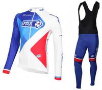 Wholesale winter cycling fdj online - WINTER FLEECE THERMAL FDJ PRO TEAM BLUE LONG SLEEVE CYCLING JERSEY BIB PANTS SIZE XS XL