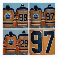 Wholesale Leon Logo - 2018 Season #97 Connor McDavid #99 Wayne Gretzky Leon Draisaitl Edmonton Oilers Hockey Jerseys Stitched New Logo Jersey Free Shipping