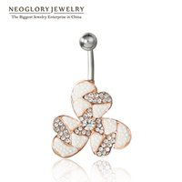 Wholesale Swarovski Rings Rose Gold - MADE WITH SWAROVSKI ELEMENTS Rhinestone Piercing Belly Button Rings Navel Simulated Neoglory Pearl Rose Gold Plated Women Fashion Jewelry