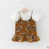 Wholesale Girls Shirts Suspenders - Baby girls outfits children white cotton T-shirt + floral falbala suspender dress 2pcs sets girls princess sets 2017 new kids clothes T2171