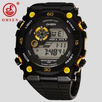 ohsen relógio amarelo venda por atacado-NOVA Chegada OHSEN Homens Marca Digital LED Assista Moda Esportes Relógio 50 M Dive Swim Ao Ar Livre Amarelo Casual Relógio De Pulso Relojoes Presente