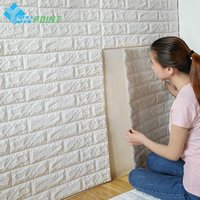 DIY Self Adhensive 3D Revestimentos de parede de tijolos Decoração de sala de estar Foam Waterproof Wall Covering Wallpaper para TV Background Kids Room