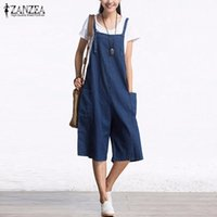 Wholesale Wholesale Plus Size Jumpsuits - Wholesale- ZANZEA 2017 Autumn Denim Rompers Womens Jumpsuit Sexy Sleeveless Wide Leg Playsuit Calf Length Overalls Plus Size S-5XL