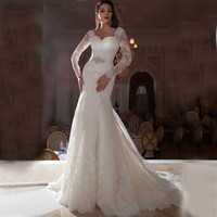 Wholesale Mermaid Diamond Wedding Dress - 2016 Gorgeous wedding dresses Long Sleeves diamond Sash Mermaid Wedding Dresses Stunning Crystal Bridal Dresses Sexy V neck Wedding dress