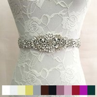 Wholesale Embroidered Dresses For Women - 2017 New Shiny czech Bling Pearls crystals appliques women sash waistband bridal wedding belt rhinestone belt for evening prom dress