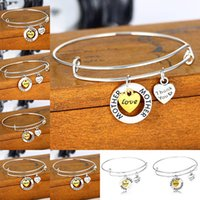 Wholesale letters bangle - letter bangles Women Charms family member jewelry ani love daugher love grandma love mother sister nana bracelet 161967