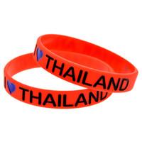 pulseras de tailandia al por mayor-Venda al por mayor el 100PCS / Lot I Love Thailand Silicone Wristband para el anuncio de las pulseras de la moda del regalo del tamaño adulto