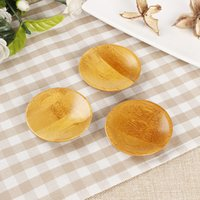 Wholesale Wooden Bamboo Plates - Creativity natural bamboo small round dishes Rural amorous feelings wooden sauce and vinegar plates Tableware plates tray