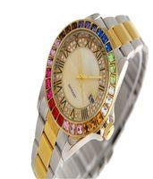 bracelet en diamant couleur achat en gros de-Fashion womens concepteur montres luxe femme montre marque couleur rectangulaire lunette en cristal strass diamant cadran romain bracelet en or filles