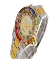 vestido de diamante de strass venda por atacado-Pulseira de luxo Senhoras das mulheres relógios de grife completo relógio de diamantes de ouro Vestido de marca de moda digitais discagem do painel frontal Cristal rhinestone relógio de pulso