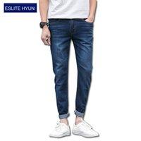 Wholesale Wholesale Designer Jeans For Men - Wholesale- 2017 NEW denim jeans for men skinny Distressed slim fit designer biker hip hop jeans male Straight solid classic jean