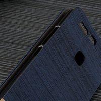 Wholesale Dual Sim Card Holder - Luxury Canvas Case for huawei p9 Cover PU Leather Flip Wallet Case huawei p9 Dual Sim Capa Card Holder Stand