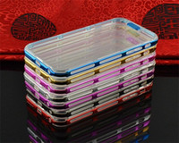 Wholesale Wholesale Plastic Frame Materials - Hotselling Golden frame case with TPU material for iphone 6 6S, Flash lighting call cellphone case 2-in-1 hybrid cases