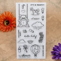 Wholesale Baby Welcome - Wholesale- WELCOME BABY BABY SHOWER Bear Scrapbook DIY photo cards account rubber stamp clear stamp transparent stamp 10x20cm KW7041805