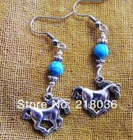 Wholesale Earring Findings Charms - Wholesale Fashion 50Pair Antique Silver Running Horse Charms Dangle Earrings For Women With Gift Box DIY Finding Jewelry Accessories M2900