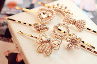 Wholesale hairpins mix for sale - Group buy Hot sale Hair ornaments headdress pearl diamond bowknot hairpin clip clip folder folder FJ045 mix order pieces a