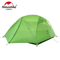 Naturehike Star Tent Fiume 20D Tessuto in Silicone Ultralight 2 Person Double Layer in alluminio Rod Tenda da campeggio con stuoia NH17T012-T